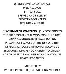 Urbock Limited Edition Ale