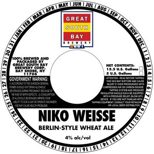 Great South Bay Brewery Niko Weisse