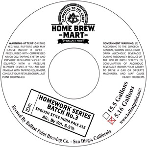 Ballast Point Brewing Company Homework Series Batch No. 3
