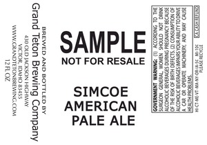 Grand Teton Brewing Company Simcoe American