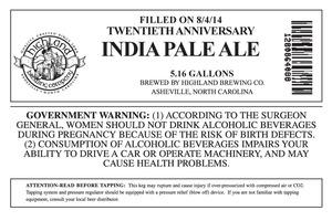 Highland Brewing Co. Twentieth Anniversary India Pale