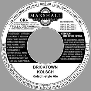 Marshall Brewing Company Bricktown Kolsch