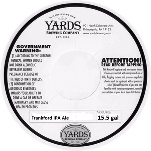 Yards Brewing Company Frankford IPA Ale