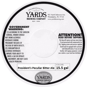 Yards Brewing Company Presidents Peculiar Bitter Ale