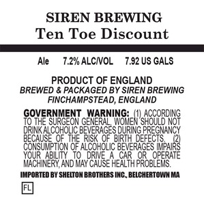 Siren Brewing Ten Toe Discount