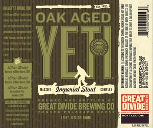 Great Divide Brewing Company Oak Aged Yeti Imperial Stout