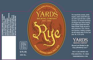 Yards Brewing Company Rye IPA