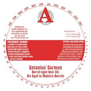 Avery Brewing Company Antonius' Carmen Barrel-aged Sour Ale