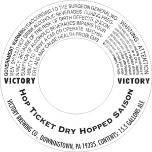 Victory Hop Ticket Dry Hopped Saison