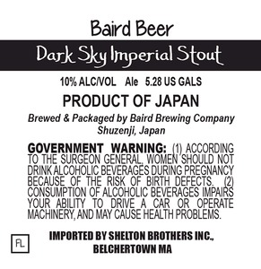 Baird Brewing Company Dark Sky