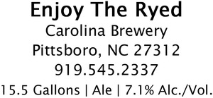 Carolina Brewery Enjoy The Ryed