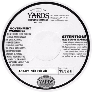 Yards Brewing Company Sit Stay India Pale Ale