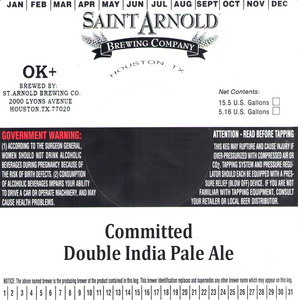 Saint Arnold Brewing Company Committed Double India Pale Ale