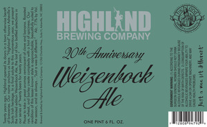 Highland Brewing Co. 20th Anniversary Weizenbock