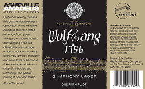Highland Brewing Co. Wolfgang 1756