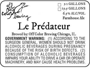Off Color Brewing Le PrÉdateur