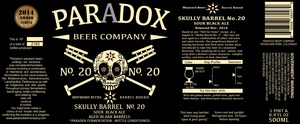 Paradox Beer Company Skully Barrel No.20