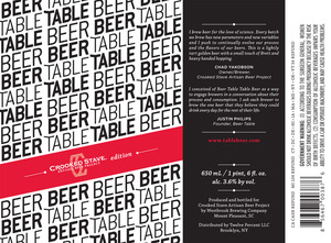 Crooked Stave Artisan Beer Project Beer Table Table Beer