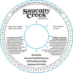 Saucony Creek Brewing Company Xreserve Beer 01-2014