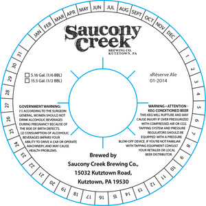 Saucony Creek Brewing Company Xreserve Ale 01-2014