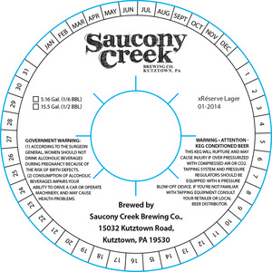 Saucony Creek Brewing Company Xreserve Lager 01-2014
