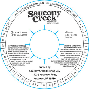 Saucony Creek Brewing Company Xreserve India Pale Ale 01-2014