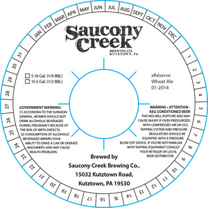 Saucony Creek Brewing Company Xreserve Wheat Ale 01-2014