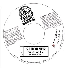 Ballast Point Brewing Company Schooner Fresh Hop
