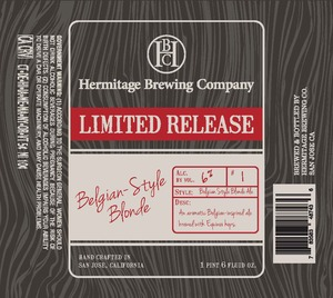 Hermitage Brewing Company Belgian Style Blonde
