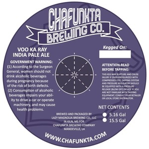 Chafunkta Brewing Company Voo Ka Ray India Pale Ale