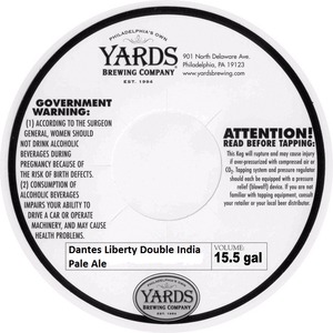 Yards Brewing Company Dantes Liberty Double India Pale Ale