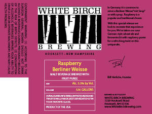 White Birch Brewing Raspberry Berliner Weisse