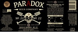 Paradox Beer Company Skully Barrel No. 22