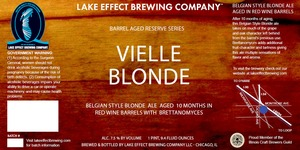 Lake Effect Brewing Company Vielle Blonde