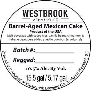 Westbrook Brewing Company Barrel-aged Mexican Cake