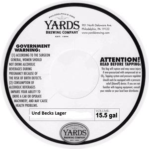 Yards Brewing Company Und Becks Lager