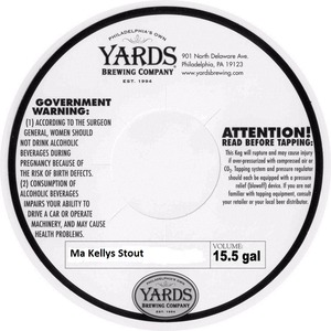 Yards Brewing Company Ma Kellys Stout