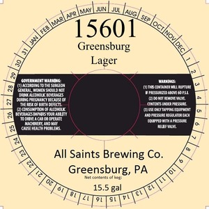 All Saints Brewing Co. Greensburg Lager