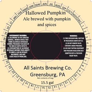 All Saints Brewing Co., Inc. Hallowed Pumpkin