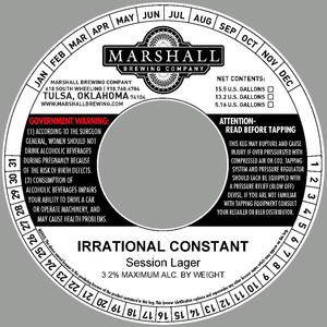 Marshall Brewing Company Irrational Constant Session Lager