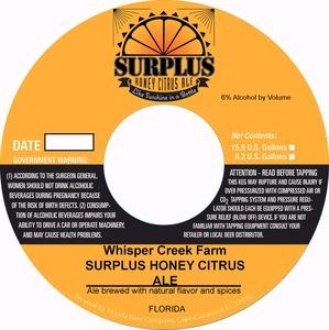 Whisper Creek Farm Surplus Honey Citrus