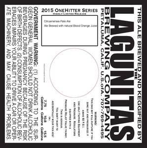 The Lagunitas Brewing Company Onehitter Series Citrusinensis Pale