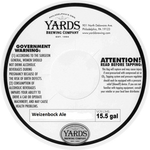 Yards Brewing Company Weizenbock Ale