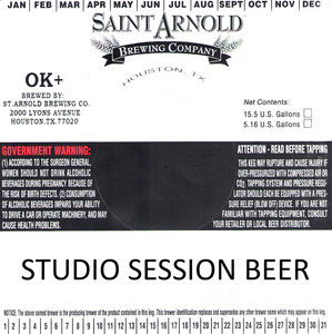 Saint Arnold Brewing Company Studio Session Beer