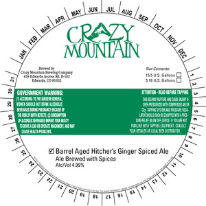 Crazy Mountain Brewing Company Barrel Aged Hitcher's Ginger