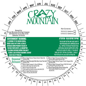 Crazy Mountain Brewing Company Barrel Aged Moonlight Mile