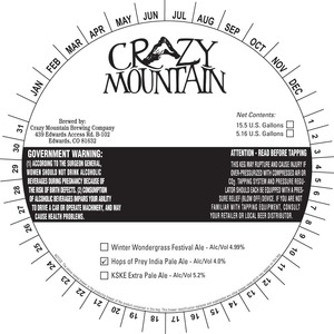 Crazy Mountain Brewing Company Hops Of Prey