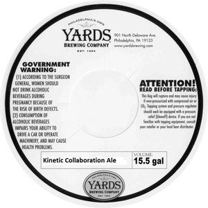 Yards Brewing Company Kinetic Collaboration Ale