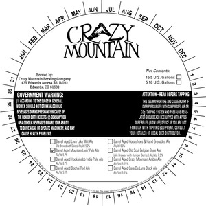 Crazy Mountain Brewing Company Barrel Aged Mountain Livin' May 2015