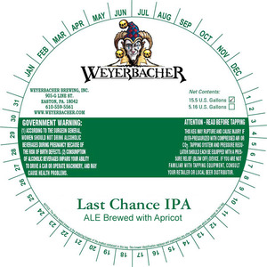 Weyerbacher Last Chance IPA Ale Brewed With Apricot